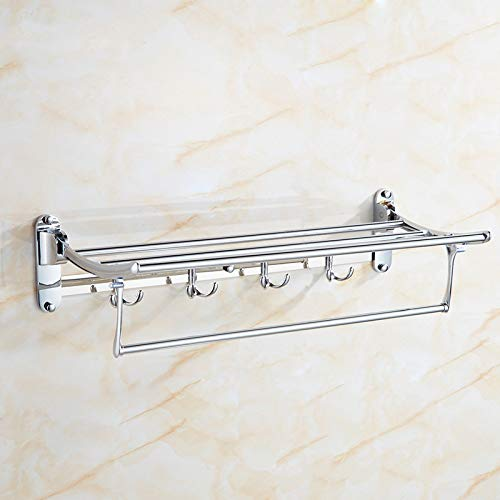 Muzi Trade Cuarto de baño Toalla Rack, Acero Inoxidable Plegable Fijo sostenedor...
