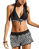 heekpek Costume da Bagno Donna Imbottito Swimsuit Halter Brasiliano Cute Beachwear Regolabile Costumi da Bagno Bikini Due Pezzi Mare e Piscina (Nero, L)