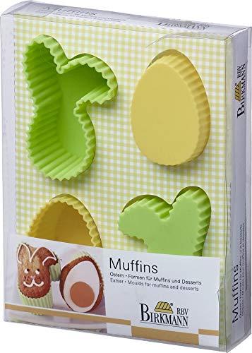 Birkmann 251373 Osterformen für Muffins und Desserts, vier Formen aus Silikon, ø 4 - 4.5 cm je 4 für insgesamt 30 Keks-Konfekte