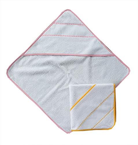 Accappatoio a triangolo per neonata set da 2 pezzi colore rosa e giallo con inserto in tela aida per ricamo a punto croce misura cm 60x60 100% cotone prodotto in italia