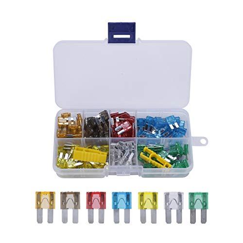 ACBungji 140er KFZ Sicherungen Set Auto Micro2 Sicherungen 5A 7.5A 10A 15A 20A 25A 30A Flachsicherungen Autosicherung mit Aufbewahrungskoffer (140 Stück)
