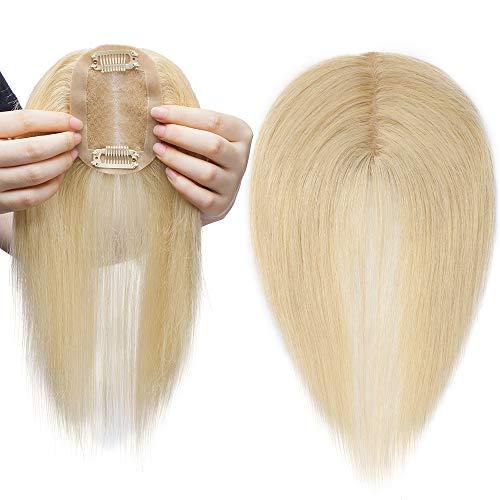 Toupet Handgemachte Mono 100% Echthaar Topper Haarteil Toupet Top Stück für Frauen 23g #613 Hellblond 14
