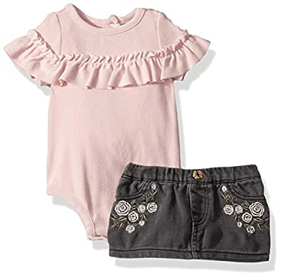 7 For All Mankind Baby Girls 2 Piece Ruffle Bodysuit and Skirt Set, Potpourri, 3-6 Months