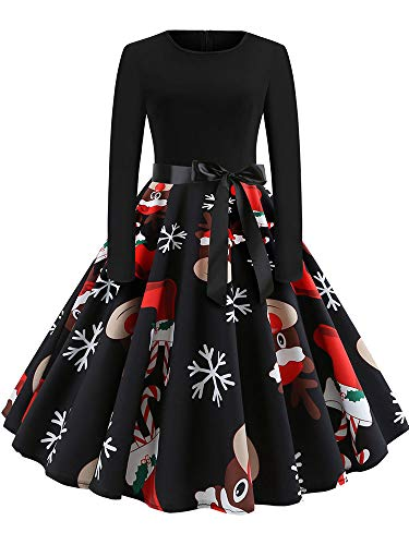Great Deal! Leepus Women Christmas Dress Cartoon Santa Snowman Snowflake Present Print High Waist Sw...