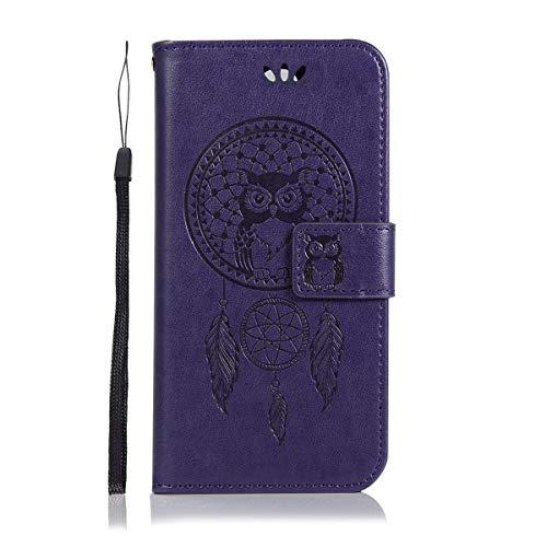 Sangrl Wallet Hülle Für Alcatel OneTouch Flash 2, Mode PU-Leder Handyhülle [Standfunktion] [Credit Card Holder] Flip Hülle Schutzhülle Owl with Dreamcatcher Muster - Lila