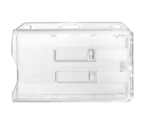Porte-badge Karteo® pour 2 cartes | Porte-carte horizontal en plastique rigide | Porte-badge transparent muni de deux glissières | Porte-carte pour cartes d'identification, cartes de service