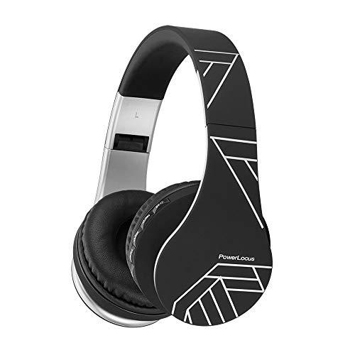 PowerLocus P1 – Auriculares Bluetooth inalambricos de Diadema Cascos Plegables, Casco Bluetooth con Sonido Estéreo con Conexión a Bluetooth Inalámbrico y Audio Cable para Movil, PC, Tablet-Negro/Plata