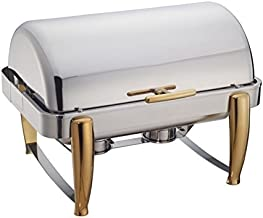 Winware 8-Quart Oblong Roll Top Chafer, Full Size Stainless Steel Chafing Dish with Gold Accents