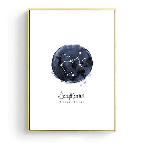 Constellation Nursery Wandkunst Leinwand Poster Drucke Astrologie Zeichen Minimalist Aquarell Malerei Nordic Kids Dekoration Bild H 30x40cm Kein Rahmen