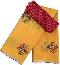 TRIPZIRA Women's Self Flower Designed Chanderi Cotton Saree With Heavy Designed Work Blouse Piece