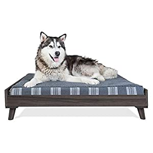 Furhaven Pet Dog Bed Frame – Mid-Century Modern Style Bed Frame Furniture for Pet Beds and Mattresses, Gray Wash, Jumbo