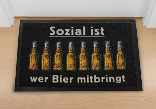 Fußmatte Sozial Ist Wer Bier Mitbringt Schwarz,au