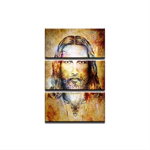 Not applicable Lona Arte Lienzo HD Impresiones Cartel Arte De La Pared 3 Piezas Jesucristo Pinturas Dios Cuadros Abstractos para La Sala De Estar Decoración del Hogar Marco