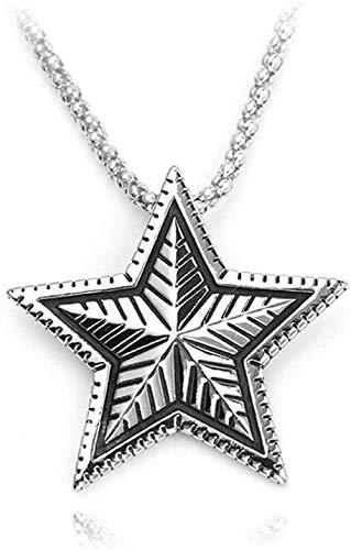 Ahuyongqing Co.,ltd Vintage Retro Convexo Pentagrama fundición Colgante de Metal Collar Mujeres Hombres Colgantes de Amuleto de Cinco Puntas
