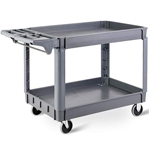 GYMAX 2 Tier Plastic Service Cart, Heavy-duty Utility Transport with 2...