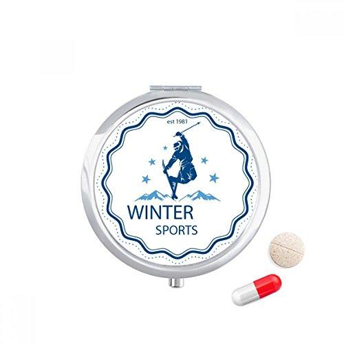 DIYthinker Winter Sport Ski Suit Watercolor Travel Pocket Pill case Medicine Drug Storage Box Dispenser Mirror Gift