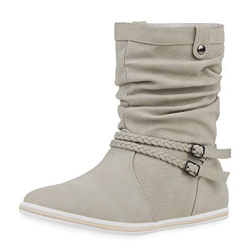 SCARPE VITA Bequeme Damen Stiefel Flache Schlupfstiefel Boots 160430 Creme Nieten 39