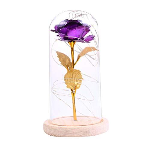 UONLYTECH - Luz Nocturna LED con diseño de Rosa Artificial, con Cubierta de Cristal, para Bodas, día de la Madre, no Incluye Pilas, Color Lila