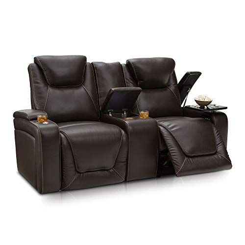 Seatcraft Vienna Home Theater Seating Leather Loveseat with Center Storage Console - Power Recline, Adjustable Headrest, Powered Lumbar Support, and Cup Holders (Loveseat,Brown)