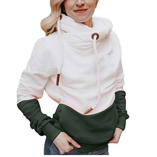 TICOOK Damenmode Solider Kontrast Sweater Langarm Kapuzenpullover Kordelzug Tasche...