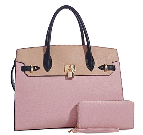 Deluxity Large Padlock Accent Structured Business Satchel +Wallet- Blush/Beige