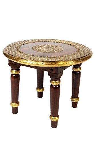 Marokkanischer Wohnzimmertisch Couchtisch aus Holz massiv Sharada 60cm   Vintage Tisch aus Massivholz mit Messing verziert für Ihre Wohnzimmer   Niedriger Orientalischer Sofatisch Massivholztisch Braun