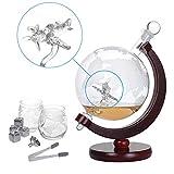 Nandae Whiskey Decanter Set Globus Karaffe 1500 ml mit 2 Gläser, Eiszange, Whiskey Steine, Glasstopfen - Flugzeug