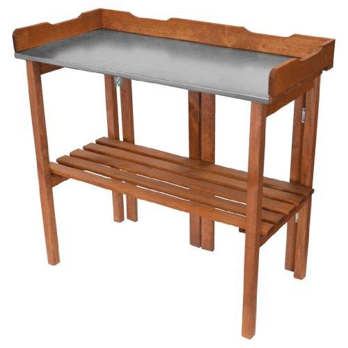 Dekorativer klappbarer Holz Planztisch mit verzinkter Arbeitsplatte