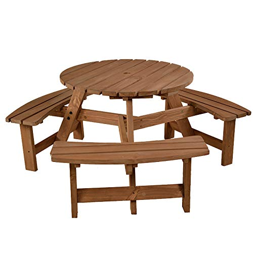 BrackenStyle Brentwood Round Picnic Table - Durable Wooden Pub Bench - Commercial Grade Durable Thick Timbers Trade Supplier - 1.7M Diameter (Brown)