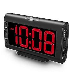 Plumeet Digital Alarm Clocks, 5.3'' Large LED Screen, Adjustable Brightness and Volume, Kids Alarm Clock for Bedrooms, USB Port for Charging, Snooze, 12/24H (Red)