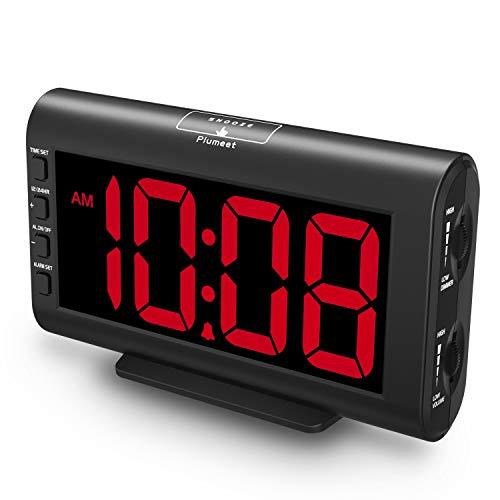 Plumeet Sveglia Elettronica, Sveglia LED con luminosità e volume regolabili, 5.3'' Grande Orologio da Comodino con Display Digitale con Porta USB (rosso)