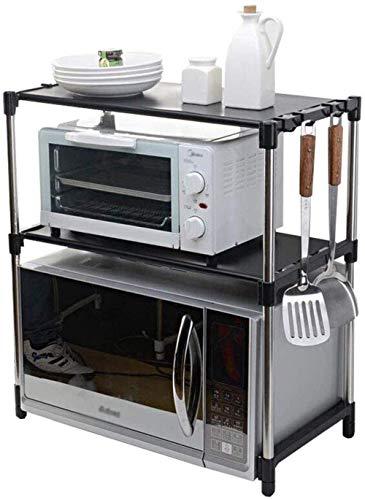 Cocina Estante de horno de microondas ajustable de doble capa Estante de horno Estante de almacenamiento de suministros de cocina Estante de almacenamiento de acero inoxidable Estante de almacenamient