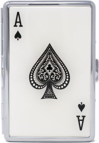 Ace of Spade Compact (16 100s) Metal-Plated Cigarette Case & Stash Box