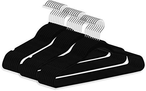 ZOYER Premium Velvet Hangers 30 Pack Black Non-Slip Clothes Hangers - Strong and Durable Suit Hangers - Space Saving Coat Hangers 360 Degree Rotatable Hook Pant Hangers