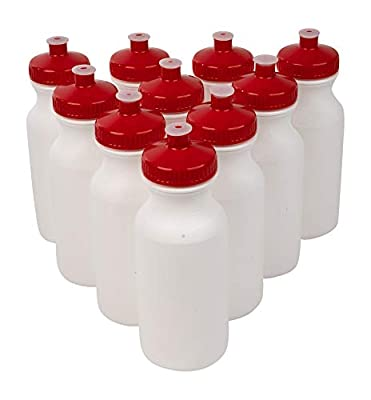 CSBD 20oz Sports Water Bottles, 10 Pack, Reusable No BPA Plastic, Pull Top Leakproof Drink Spout, Blank DIY Customization for Business Branding, Fundraises, or Fitness White Bottle Red Lids