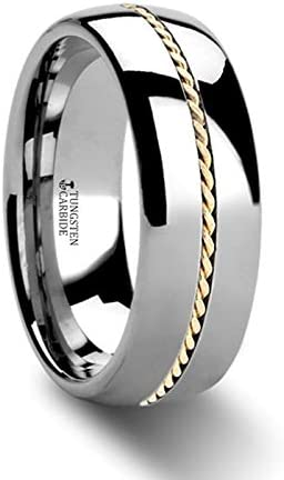 Goldwyn Braided 14k Gold Wedding Band Inlay Domed Tungsten Ring - 6mm & 8mm (Tungsten- 6mm, 7.5)