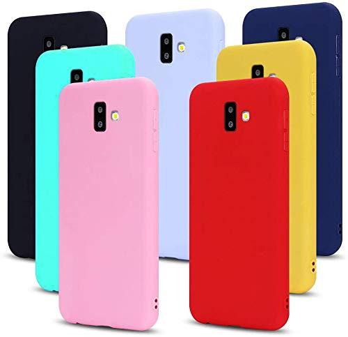 MoEvn 7X Cover per Samsung J6 Plus 2018 Custodia, Morbido TPU Silicone Protezione Case per Samsung Galaxy J6+ 2018 Smartphone Opaco Gomma Gel Flessibile Sottile Antiurto Cellulare Bumper (7 Colori)