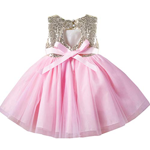 18-24 Months 2t Pink Toddler Dresses Trendy Spring Fancy Puffy Halter Gown Pageant Formal Ruffle Baby Dresses Church Cute Dresses for Girls Baptism Christening Birthday Party Dress for Baby Girl