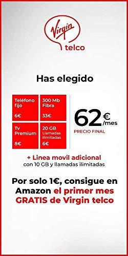 Virgin telco: Fibra 300 Mb, Móvil con 20 GB+llamadas ilimitadas, teléfono fijo con llamadas ilimitadas, TV Premium+Deco4K con Android TV y una línea de móvil adicional con 10 GB+llamadas ilimitadas