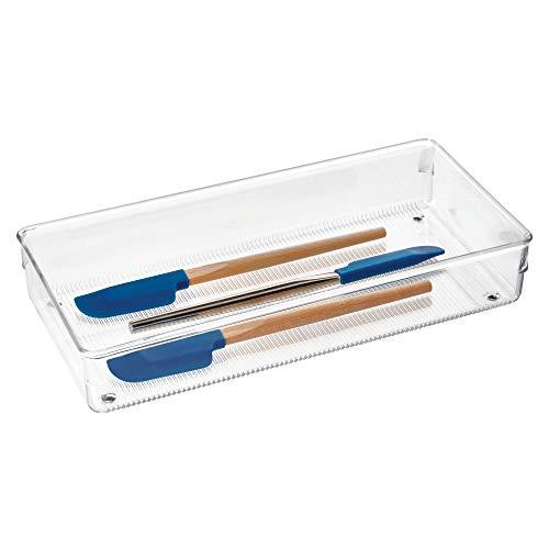 iDesign Schubladen Organizer, großer Schubladeneinsatz aus Kunststoff, verwendbar als Besteckkasten für Schubladen, durchsichtig
