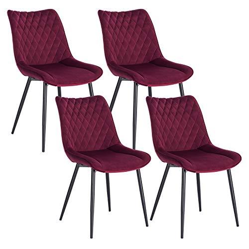 WOLTU 4 x Esszimmerstühle 4er Set Esszimmerstuhl Küchenstuhl Polsterstuhl Design Stuhl mit Rückenlehne, mit Sitzfläche aus Samt, Gestell aus Metall, Bordeaux, BH209bd-4