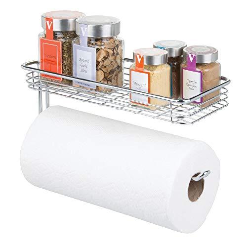 mDesign Küchenrollenhalter Wand - Halter für Papierrollen in Küche oder Bad - an der Wand zu befestigender, moderner Papierrollenhalter - Farbe: Chrom