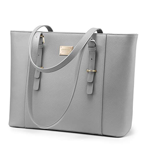 LOVEVOOK Laptop Bag for Women, Structured Leather Computer Bag, Professional Work Tote Purse, Teacher/Attorney's Choice, Light-Grey