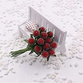 BeesClover 12PCS/lot Artificial Christmas Red Strawberry Stamen Berries/Wreath of Flowers/Candy Accessories The Simulation Cherry Fruit red One Size