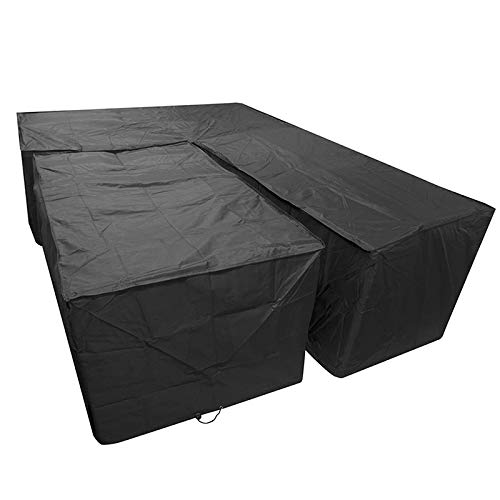 Sofa Covers Dining Patio Set, L Shape Large Long Waterproof Sunscreen Dust Cover With Storage Bag, Corner Furniture Table Protection Cover For Outdoor Garden Home (Right Side Long)
