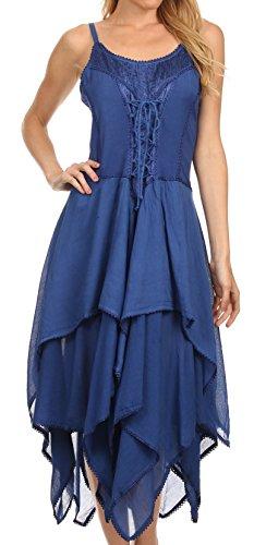 Sakkas 0131 Lady Mary Jacquard Corset Style Bodice Lightweight Handkerchief Hem Dress - Navy - OSP