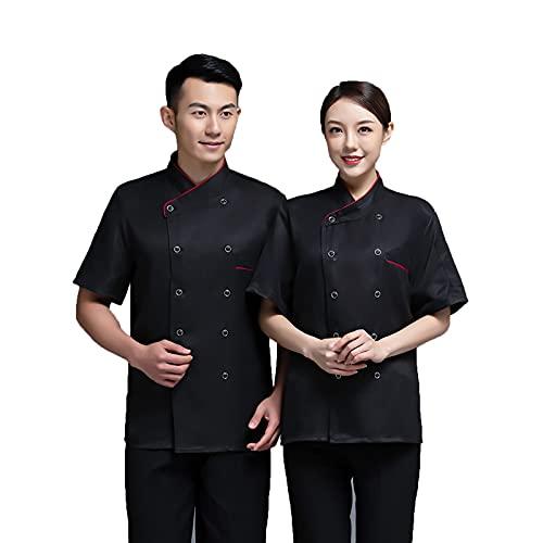 QQYXCA Chef Uniforme Manga Corta Chaqueta de Chef para Hombre Mujere Unisexo,Chef Chaqueta Personalizada Cocina con Malla Transpirable Vestir Ropa de Trabajo Uniforme,Negro,M
