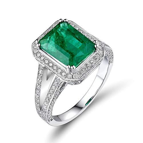 Adisaer Women Ring 18K,Wedding Bands 4 Claw Rectangle Emerald Diamonds 18K White Gold Women Ring White Gold Engagement Ring 2.5CT Emerald and 0.94CT Diamond Size I 1/2