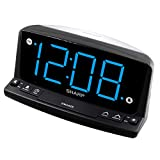 Sharp LED Digital Alarm Clock – Simple Operation - Easy to See Large Numbers, Built in Night Light, Loud Beep Alarm with Snooze, Bright Big Blue Digit Display
