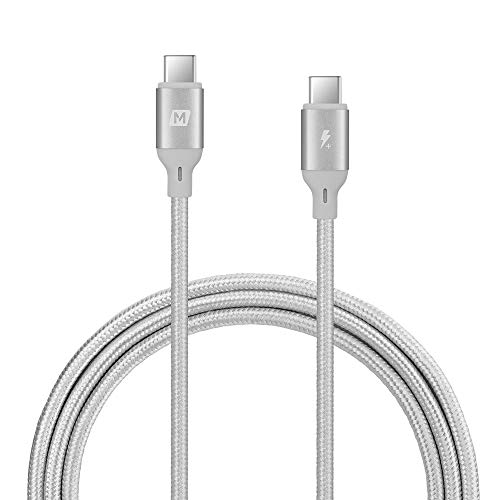 USB C to USB C Cable 4ft 100W,MOMAX USB Type-C 5A PD Fast Charging Braided Cord Compatible with Google Pixel 3a/3/2 XL, MacBook, Galaxy S10/Note10/A80, Nexus 6P,iPad Pro and More (Silver)